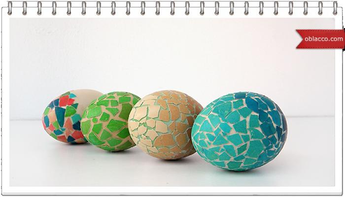 Яйца пасхальные, украшенные яичной скорлупой